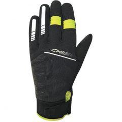 Dolge kolesarske rokavice Chiba Rain Touch II-Black/Neon