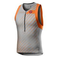 Castelli moški dres Tri Top - Silver Gray/Brilliant Orange