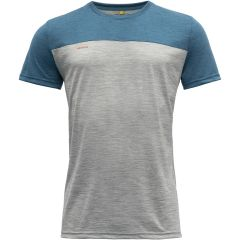 Moška kratka majica Devold Norang - Grey Melange/Blue Melange