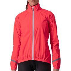 Ženska kolesarska dežna jakna Castelli Emergency 2 Rain - Brilliant Pink