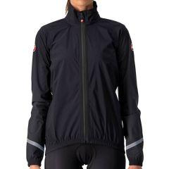 Ženska kolesarska dežna jakna Castelli Emergency 2 Rain - Light Black