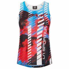 Ženska tekaška majica La Sportiva Sky Tank - Malibu Blue/Hibiscus